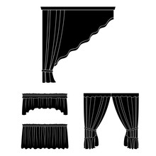 Different Kinds Of Curtains Black Icons In Set Collection For Design. Curtains And Lambrequins Vector Symbol Stock Web Illustration.