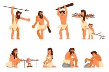 Primitive Stone Age People Vec...