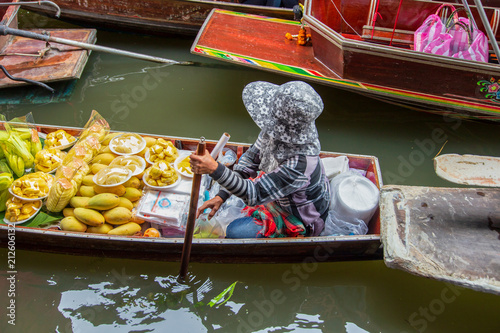 Poster Asia land Damnoen Saduak Floating Market near Bangkok in Thailand