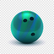 Vector illustration realistic 3D striped green blue bowling ball. Isolated on a transparent checkered background. Design element EPS10
