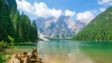 Fototapeta Forest - Idyllic summer landscape with mountain lake and Alps