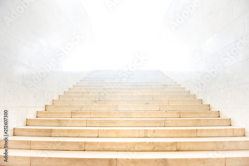 Aluminium Prints Stairs Marble staircase with stairs with white isolated background