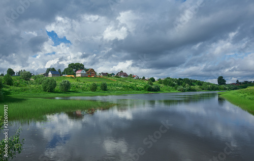 Tuinposter Asia land Russian Northern Village Matigory