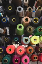 Multicolored Threads Arranged In Row
