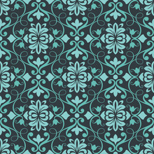Dark Teal Seamless Floral Wallpaper