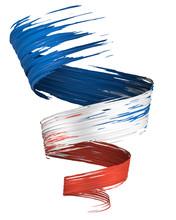 3D Brush Paint Stroke Swirl In France Flag