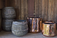 Empty Plant Pots On A Wooden S...