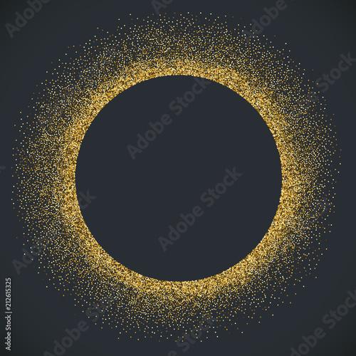 Obraz Round gold tinsel frame card design - fototapety do salonu