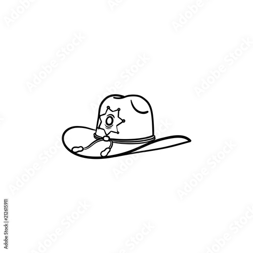 d1d1b38f029 Sheriff hat hand drawn outline doodle icon. Police authority