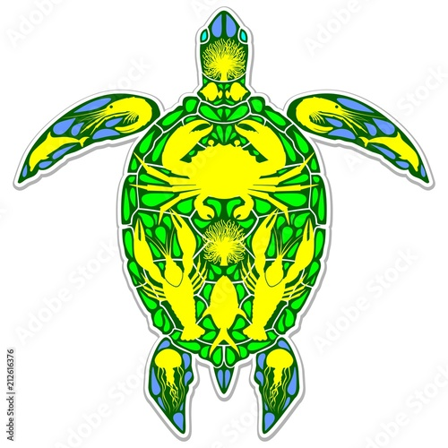 Staande foto Draw Sea Turtle Reef Marine Life Abstract Symbol Tattoo Style