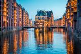Hamburg Speicherstadt at twilight, Germany