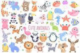 Fototapeta Fototapety na ścianę do pokoju dziecięcego - Cute animals set.