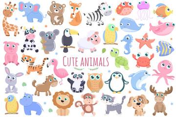 Cute animals set.
