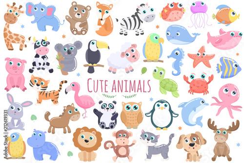 Zestaw uroczych zwierzątek.