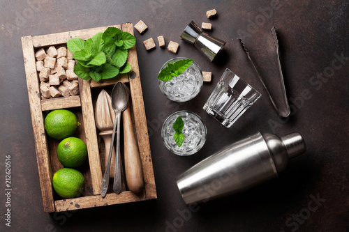 Spoed Foto op Canvas Wanddecoratie met eigen foto Mojito cocktail ingredients box