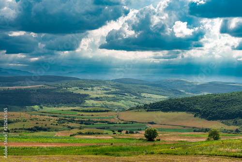 Poster Groen blauw Countryside Landscape