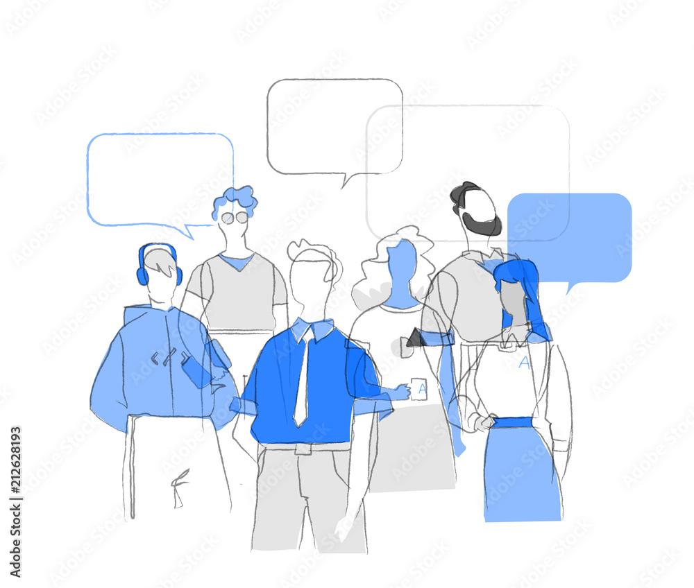 Fototapeta Gente comune che socializza