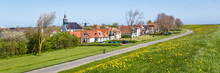 Panorama Village Oudeschild With Martinus Church, Windmill  And Trraditional Gable  Houses On The Wadden Island Texel In The Netherlands