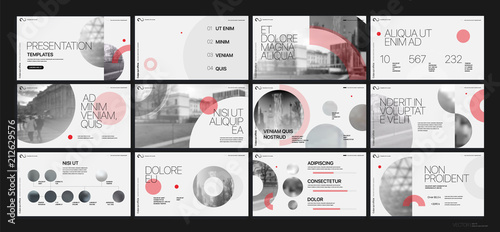 Fototapeta Presentation template. Red geometric elements for slide presentations on a white background. Use also as a flyer, brochure, corporate report, marketing, advertising, annual report, banner. Vector obraz