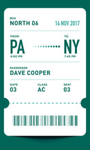 E-Ticket Or Boarding Pass Card Template With Bar Code. Bus Ticket Pass Design.