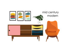 Vector Mid Century Modern Illu...