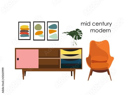 vector mid century modern illustration. 1960 1950 house home ...