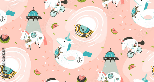 Hand drawn vector abstract graphic creative cartoon illustrations seamless patte Wallpaper Mural