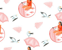 Hand Drawn Vector Abstract Cartoon Summer Time Graphic Illustrations Artistic Seamless Pattern With Gull Bird And Beauty Girl Under Pink Bohemian Umbrella On Beach Mat Isolated On White Background