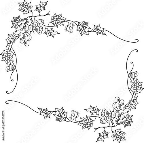 Hand Drawn Doodle Sketch Line Art Vector Illustration of Frame Ornament of Ripe Grape. Menu Poster Card Decoration Black Outline Design Element Template Fototapete