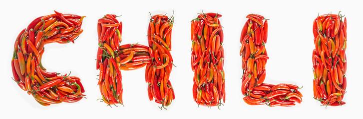 Chile słowo pisać z czerwonymi chilies, Chili słowo pisać z gorącymi chilies.