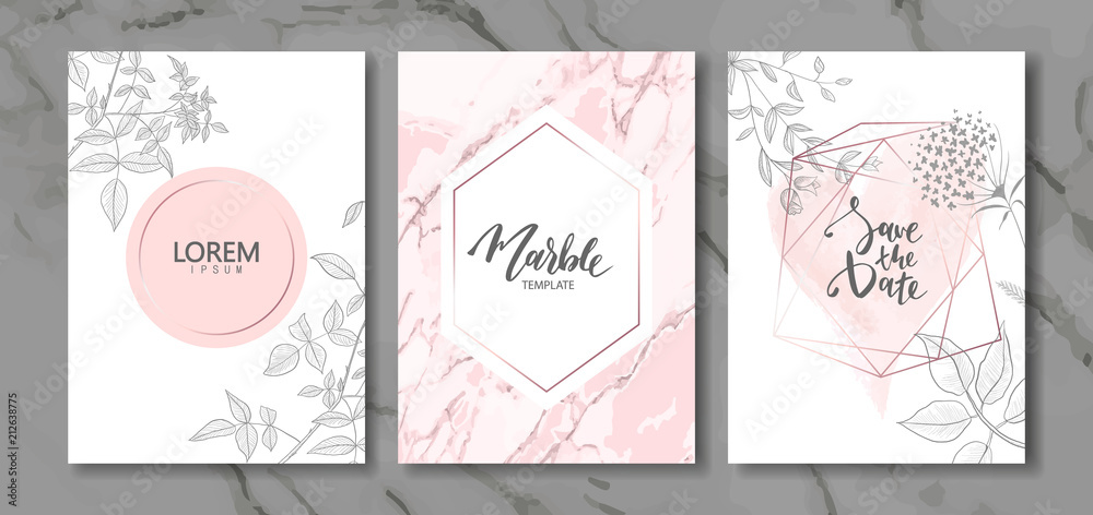 Fototapeta Luxury cards collection with marble texture and hand-drawn plants.Vector trendy background. Modern set of abstract card, template,posters,invitation