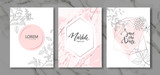 Luxury cards collection with marble texture and hand-drawn plants.Vector trendy background. Modern set of abstract card, template,posters,invitation