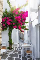 FototapetaKleine Gasse auf den Kykladen, Paros, Griechenland, mit weißen Häusern, Tischen und Stühlen und bunten Bougainvillea Blumen