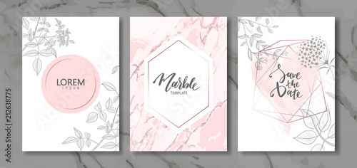 Photo Luxury cards collection with marble texture and hand-drawn plants