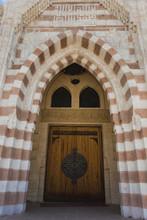 Vertical Color Photography Of Door Of Al Mustafa Mosque In Sharm El Sheikh, Egypt.
