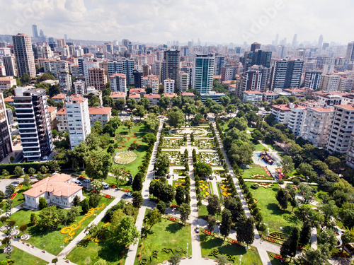 Fotografering  Aerial Drone View of Goztepe 60th Year Park located in Kadikoy, Istanbul