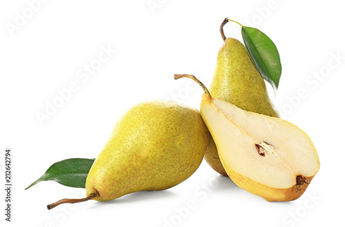 Delicious ripe pears on white background