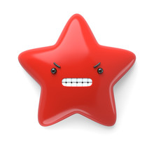 3d Render, Abstract Emotional Star Icon, Angry Character Going Mad Illustration, Grumpy, Devil, Cute Cartoon Star, Emoji, Emoticon, Toy