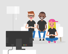 Laughing Teenagers Playing Video Games On TV.  Leisure. Friends Having Fun. Flat Editable Vector Illustration, Clip Art