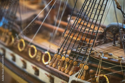 Fotografía  Wooden ship model in the maritime museum.