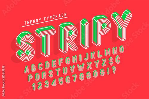 Striped 3d display font popart design, alphabet, letters and num
