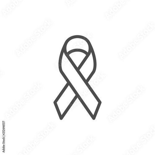 Fototapeta Awareness ribbon line icon obraz