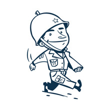 Vintage Style Clip Art - Soldier Walking With His Rifle On The Shoulder - Vector EPS10