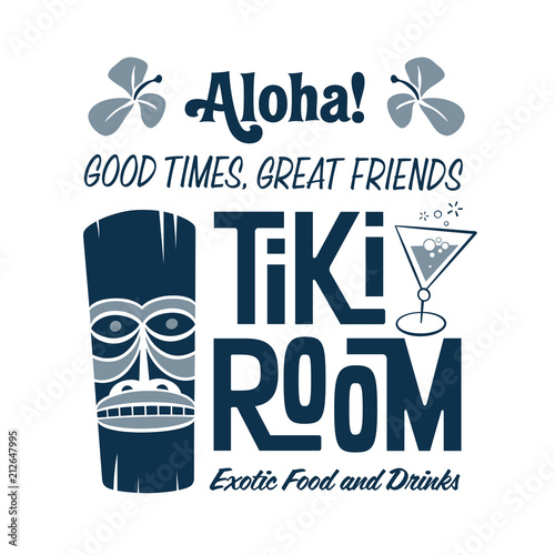 Fotografia  Vintage style clip art - Tiki Room Exotic Food And Drinks - Vector EPS10