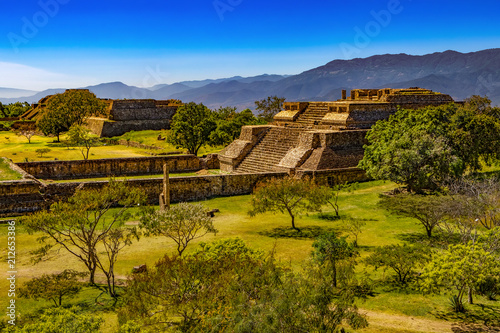 Mexico. Archaeological Site of Monte Alban (UNESCO World Heritage Site). Buildings on west side of the Grand Plaza - System IV (Building K)