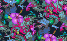 Seamless Pattern Of Colibri And Dragon. Vector Illustration