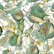 Linden Leaves In A Watercolor Style. Seamless Background Pattern. Fabric Wallpaper Print Texture. Aquarelle Leaf For Background, Texture, Wrapper Pattern, Frame Or Border.