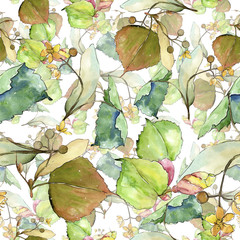 Naklejka Liście linden leaves in a watercolor style. Seamless background pattern. Fabric wallpaper print texture. Aquarelle leaf for background, texture, wrapper pattern, frame or border.