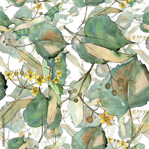 Tapeta do salonu  linden-leaves-in-a-watercolor-style-seamless-background-pattern-fabric-wallpaper-print-texture-aquarelle-leaf-for-background-texture-wrapper-pattern-frame-or-border