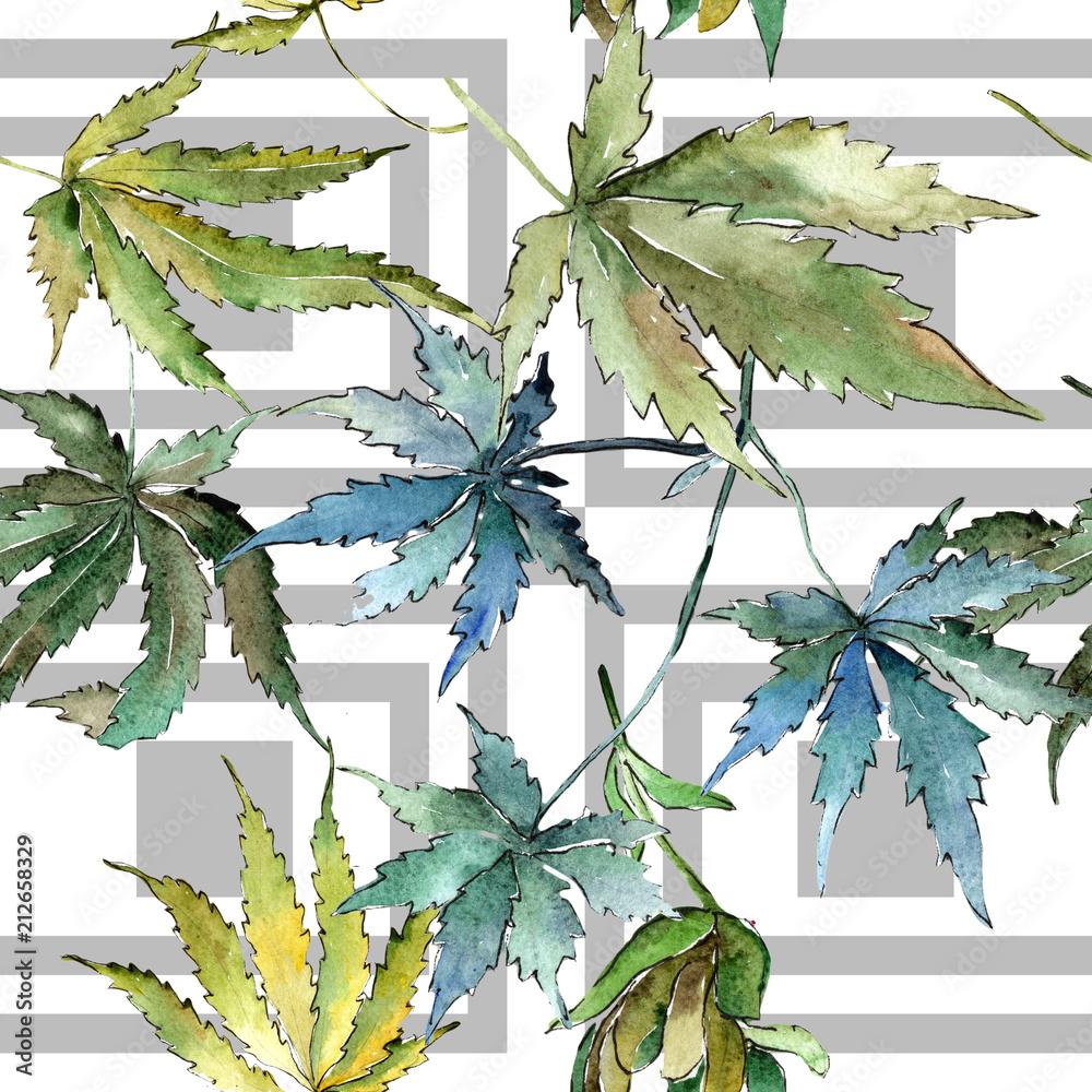Tapeta Winylowa Na Flizelinie Zielone Liście Marihuany W